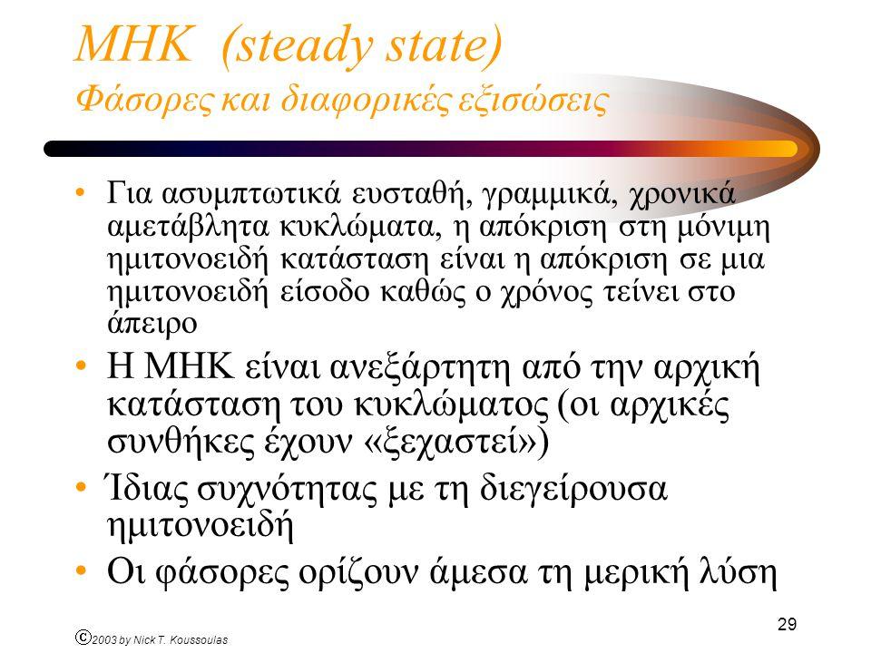Ó 2003 by Nick T. Koussoulas 29 ΜΗΚ (steady state) Φάσορες και διαφορικές εξισώσεις Για ασυμπτωτικά ευσταθή, γραμμικά, χρονικά αμετάβλητα κυκλώματα, η