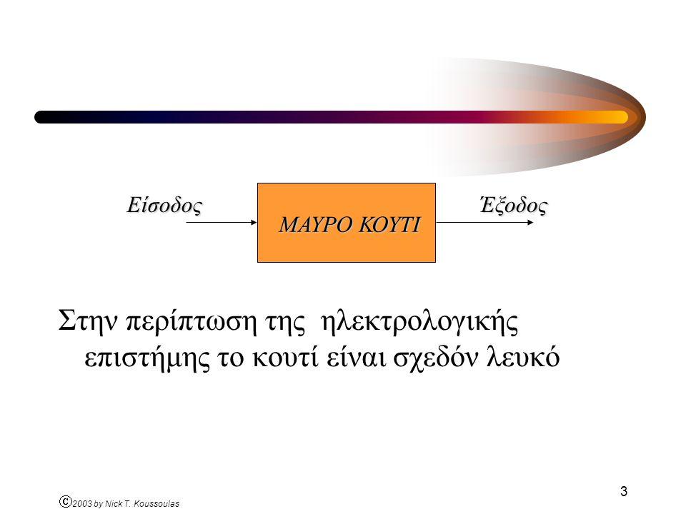 Ó 2003 by Nick T. Koussoulas 3 Στην περίπτωση της ηλεκτρολογικής επιστήμης το κουτί είναι σχεδόν λευκό ΜΑΥΡΟ ΚΟΥΤΙ ΕίσοδοςΈξοδος