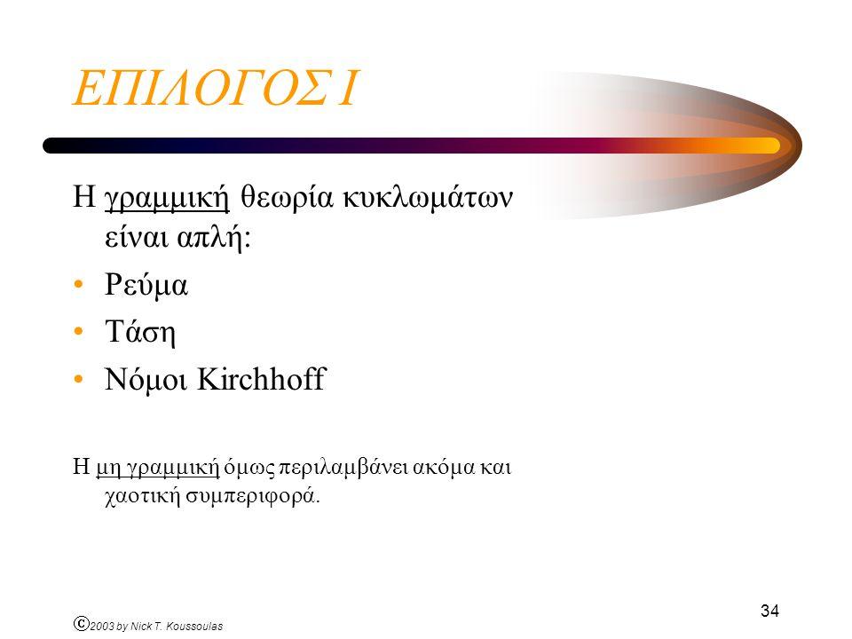 Ó 2003 by Nick T. Koussoulas 34 ΕΠΙΛΟΓΟΣ Ι Η γραμμική θεωρία κυκλωμάτων είναι απλή: Ρεύμα Τάση Νόμοι Kirchhoff Η μη γραμμική όμως περιλαμβάνει ακόμα κ