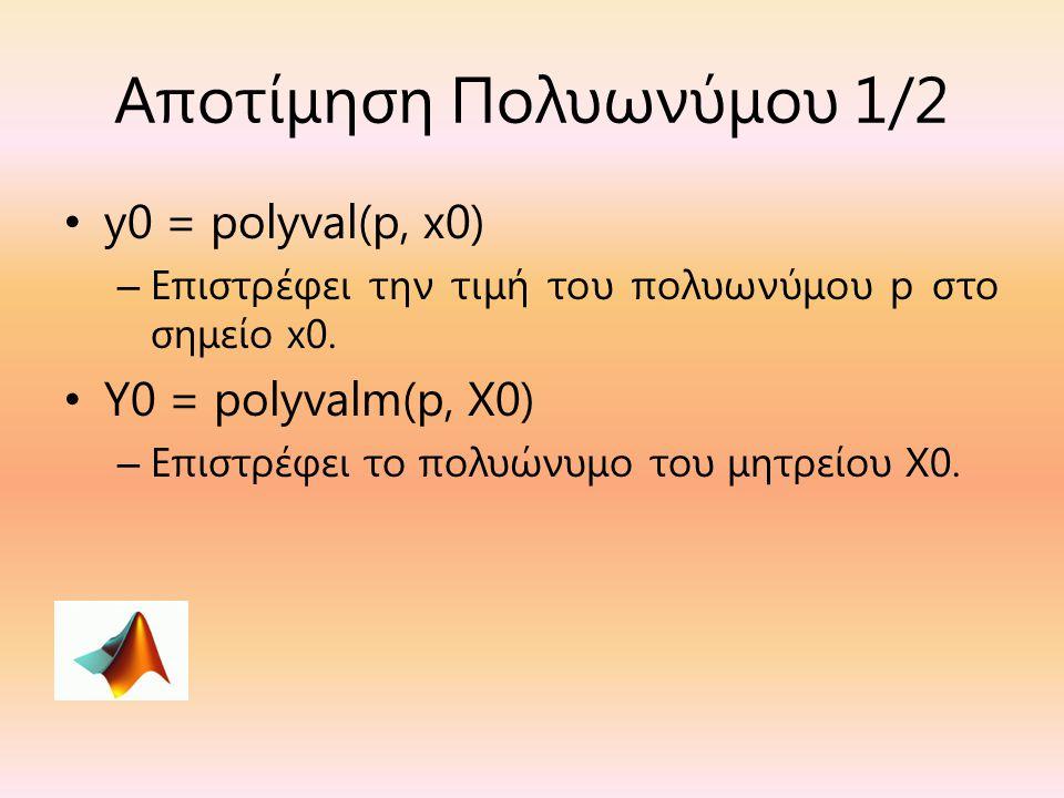 Αποτίμηση Πολυωνύμου 1/2 y0 = polyval(p, x0) – Επιστρέφει την τιμή του πολυωνύμου p στο σημείο x0. Y0 = polyvalm(p, X0) – Επιστρέφει το πολυώνυμο του