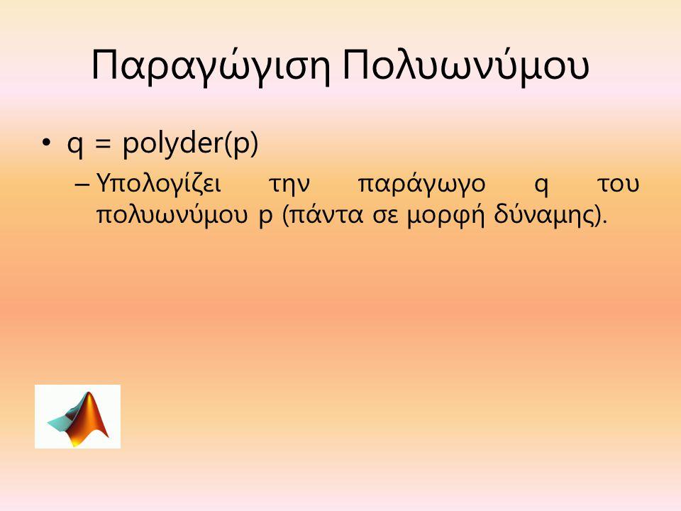 Παραγώγιση Πολυωνύμου q = polyder(p) – Υπολογίζει την παράγωγο q του πολυωνύμου p (πάντα σε μορφή δύναμης).