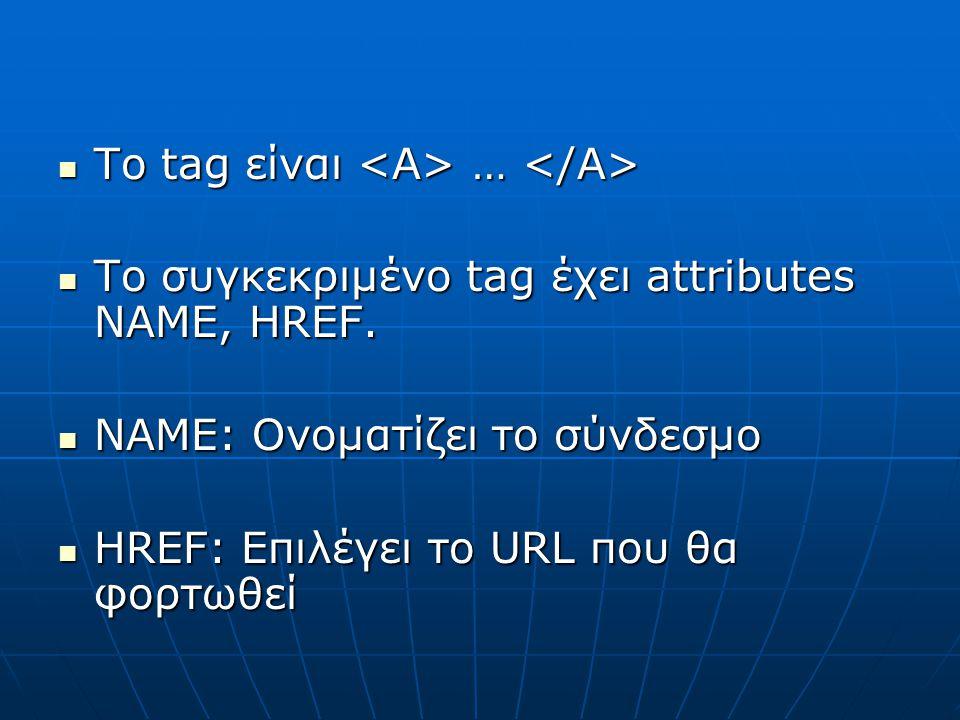 Το tag είναι … Το tag είναι … To συγκεκριμένο tag έχει attributes NAME, HREF. To συγκεκριμένο tag έχει attributes NAME, HREF. NAME: Ονοματίζει το σύνδ