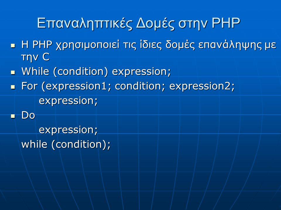 Επαναληπτικές Δομές στην ΡΗΡ Η ΡΗΡ χρησιμοποιεί τις ίδιες δομές επανάληψης με την C Η ΡΗΡ χρησιμοποιεί τις ίδιες δομές επανάληψης με την C While (condition) expression; While (condition) expression; For (expression1; condition; expression2; For (expression1; condition; expression2;expression; Do Doexpression; while (condition);
