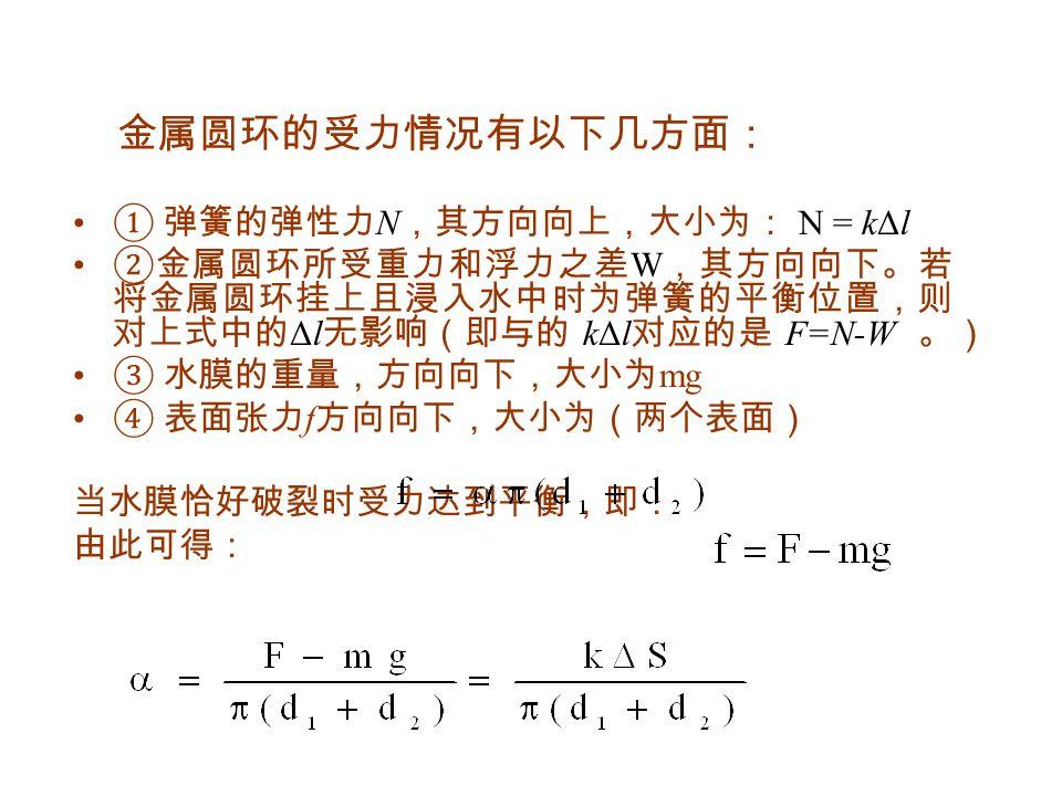 金属圆环的受力情况有以下几方面: ① 弹簧的弹性力 N ,其方向向上,大小为: N = kΔl ②金属圆环所受重力和浮力之差 W ,其方向向下。若 将金属圆环挂上且浸入水中时为弹簧的平衡位置,则 对上式中的 Δl 无影响(即与的 kΔl 对应的是 F=N-W 。) ③ 水膜的重量,方向向下,大小为 mg ④ 表面张力 f 方向向下,大小为(两个表面) 当水膜恰好破裂时受力达到平衡,即: 由此可得: