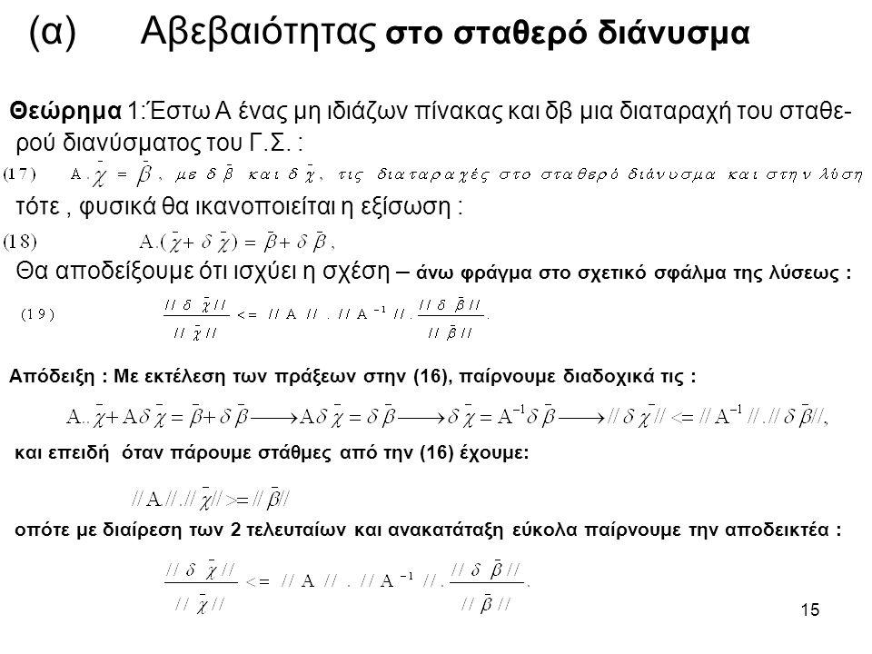 15 (α) Αβεβαιότητας στο σταθερό διάνυσμα Θεώρημα 1:Έστω Α ένας μη ιδιάζων πίνακας και δβ μια διαταραχή του σταθε- ρού διανύσματος του Γ.Σ. : τότε, φυσ
