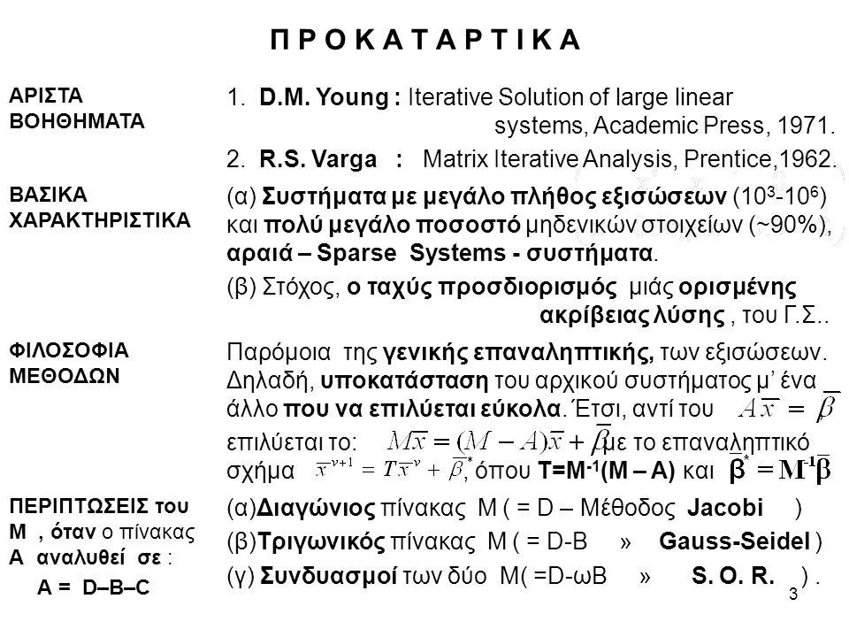3 Π Ρ Ο Κ Α Τ Α Ρ Τ Ι Κ Α ΑΡΙΣΤΑ ΒΟΗΘΗΜΑΤΑ 1. D.M. Young : Iterative Solution of large linear systems, Academic Press, 1971. 2. R.S. Varga : Matrix It