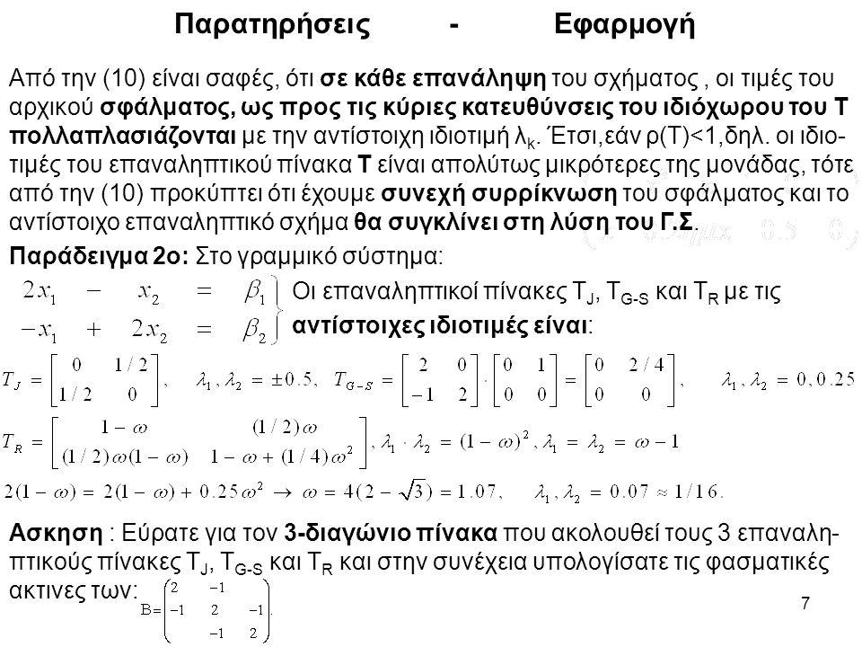 7 Παρατηρήσεις - Εφαρμογή Από την (10) είναι σαφές, ότι σε κάθε επανάληψη του σχήματος, οι τιμές του αρχικού σφάλματος, ως προς τις κύριες κατευθύνσει