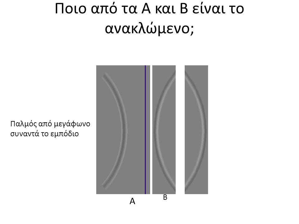 Ποιο από τα Α και Β είναι το ανακλώμενο; Παλμός από μεγάφωνο συναντά το εμπόδιο Α Β