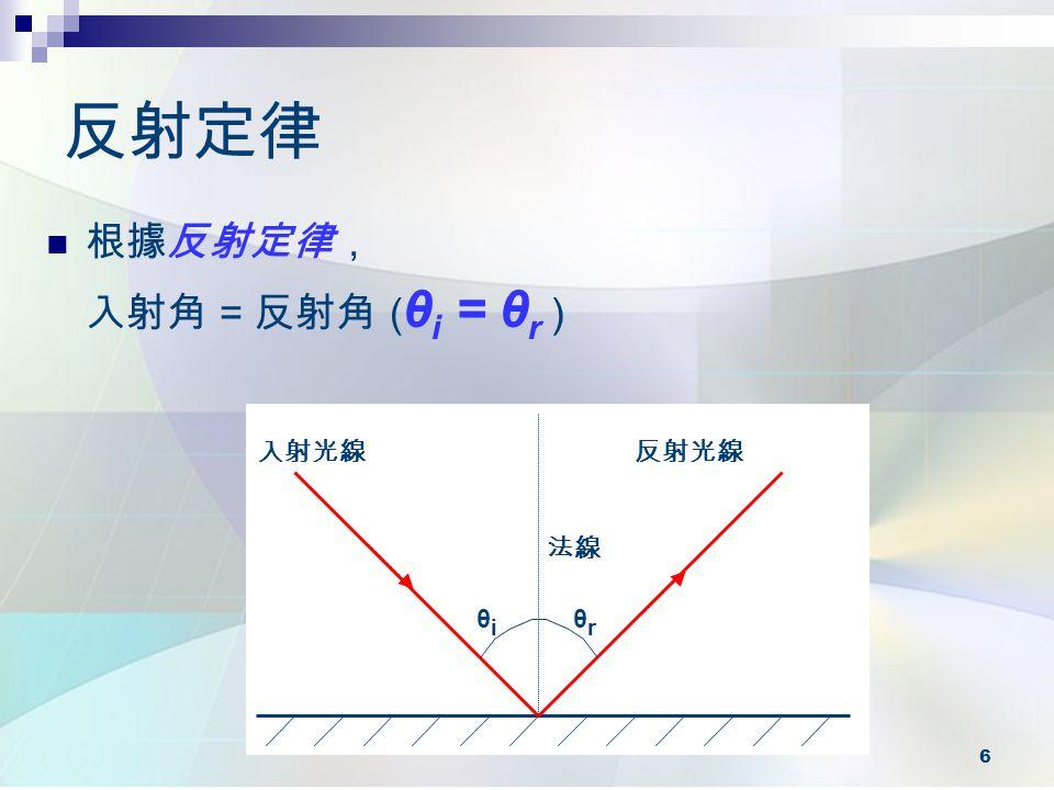 6 反射定律 根據反射定律, 入射角 = 反射角 ( θ i = θ r ) 入射光線反射光線 法線 θiθi θrθr