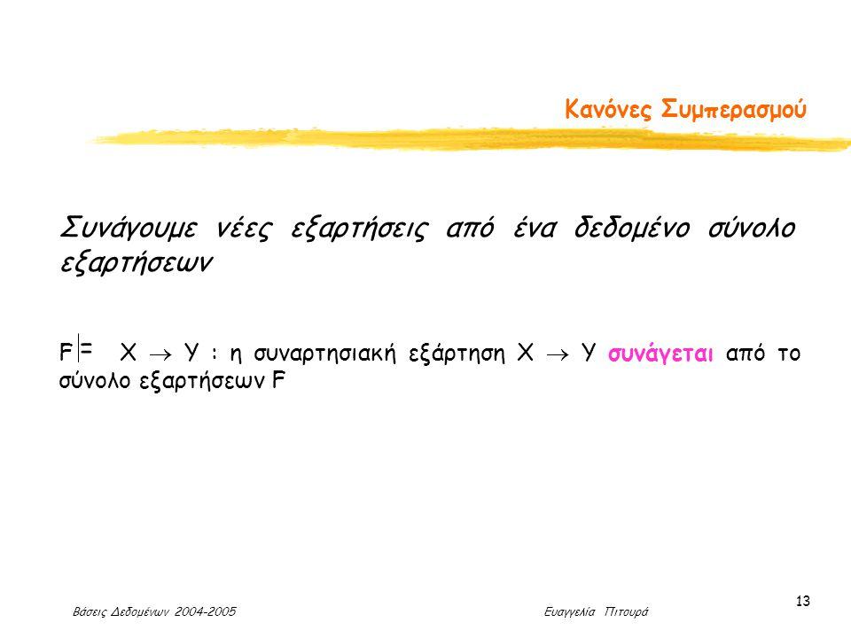 Βάσεις Δεδομένων 2004-2005 Ευαγγελία Πιτουρά 13 Κανόνες Συμπερασμού Συνάγουμε νέες εξαρτήσεις από ένα δεδομένο σύνολο εξαρτήσεων F X  Y : η συναρτησιακή εξάρτηση X  Y συνάγεται από το σύνολο εξαρτήσεων F =