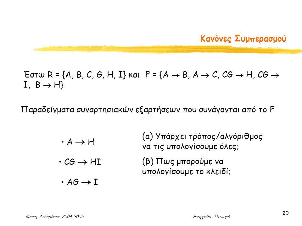 Βάσεις Δεδομένων 2004-2005 Ευαγγελία Πιτουρά 20 Κανόνες Συμπερασμού Έστω R = {A, B, C, G, H, I} και F = {A  B, A  C, CG  H, CG  I, B  H} Παραδείγματα συναρτησιακών εξαρτήσεων που συνάγονται από το F Α  Η CG  ΗI ΑG  I (α) Υπάρχει τρόπος/αλγόριθμος να τις υπολογίσουμε όλες; (β) Πως μπορούμε να υπολογίσουμε το κλειδί;