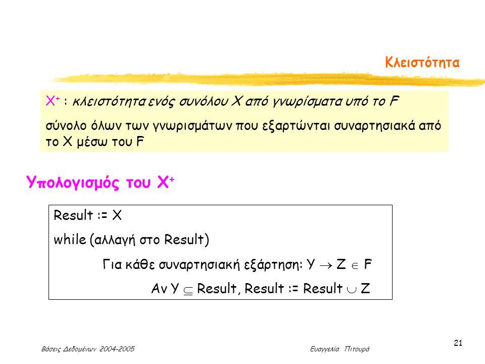 Βάσεις Δεδομένων 2004-2005 Ευαγγελία Πιτουρά 21 Κλειστότητα Χ + : κλειστότητα ενός συνόλου X από γνωρίσματα υπό το F σύνολο όλων των γνωρισμάτων που εξαρτώνται συναρτησιακά από το X μέσω του F Υπολογισμός του Χ + Result := Χ while (αλλαγή στο Result) Για κάθε συναρτησιακή εξάρτηση: Υ  Ζ  F Αν Υ  Result, Result := Result  Z