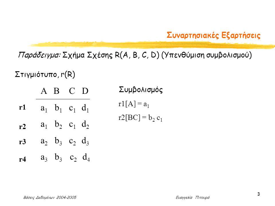 Βάσεις Δεδομένων 2004-2005 Ευαγγελία Πιτουρά 3 Συναρτησιακές Εξαρτήσεις Παράδειγμα: Σχήμα Σχέσης R(A, B, C, D) (Υπενθύμιση συμβολισμού) Α Β C D a 1 b 1 c 1 d 1 a 1 b 2 c 1 d 2 a 2 b 3 c 2 d 3 a 3 b 3 c 2 d 4 Στιγμιότυπο, r(R) r1 r2 r3 r4 Συμβολισμός r1[A] = a 1 r2[BC] = b 2 c 1