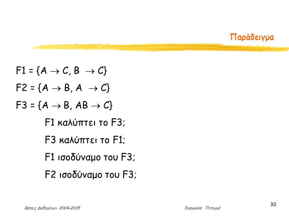 Βάσεις Δεδομένων 2004-2005 Ευαγγελία Πιτουρά 30 Παράδειγμα F1 = {A  C, B  C} F2 = {A  B, A  C} F3 = {A  B, AB  C} F1 καλύπτει το F3; F3 καλύπτει το F1; F1 ισοδύναμο του F3; F2 ισοδύναμο του F3;