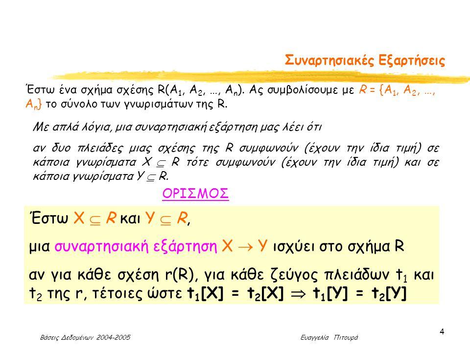 Βάσεις Δεδομένων 2004-2005 Ευαγγελία Πιτουρά 4 Συναρτησιακές Εξαρτήσεις Έστω ένα σχήμα σχέσης R(Α 1, Α 2, …, Α n ).