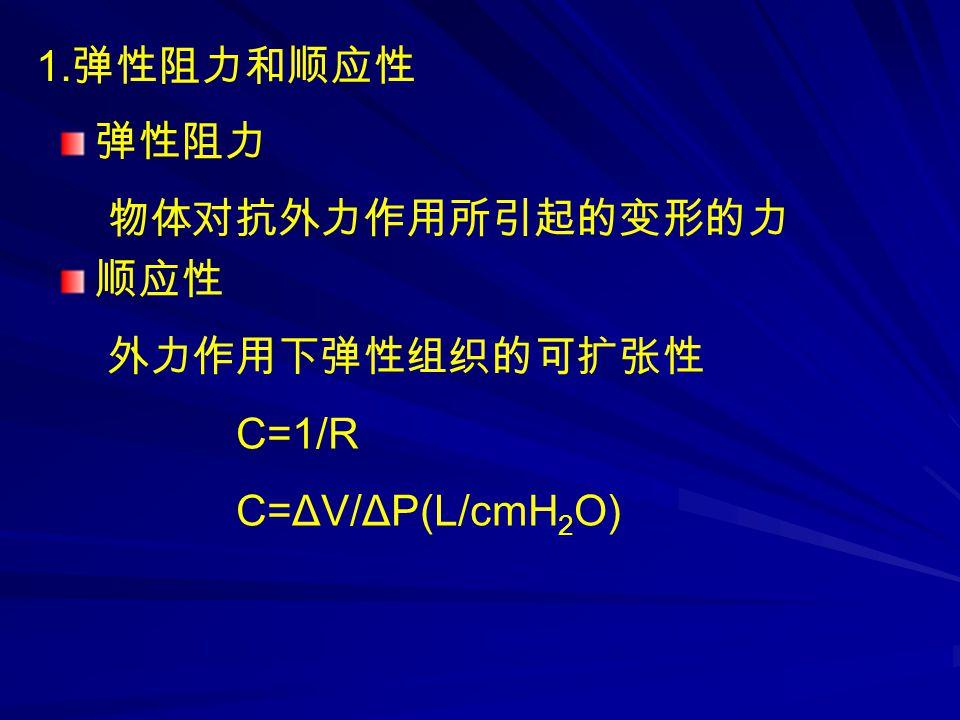 1. 弹性阻力和顺应性 弹性阻力 物体对抗外力作用所引起的变形的力 顺应性 外力作用下弹性组织的可扩张性 C=1/R C=ΔV/ΔP(L/cmH 2 O)