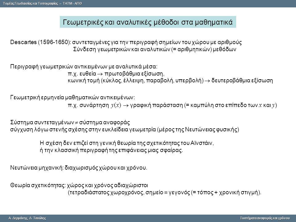 Tομέας Γεωδαισίας και Τοπογραφίας – ΤΑΤΜ - ΑΠΘ A.Δερμάνης, Δ.