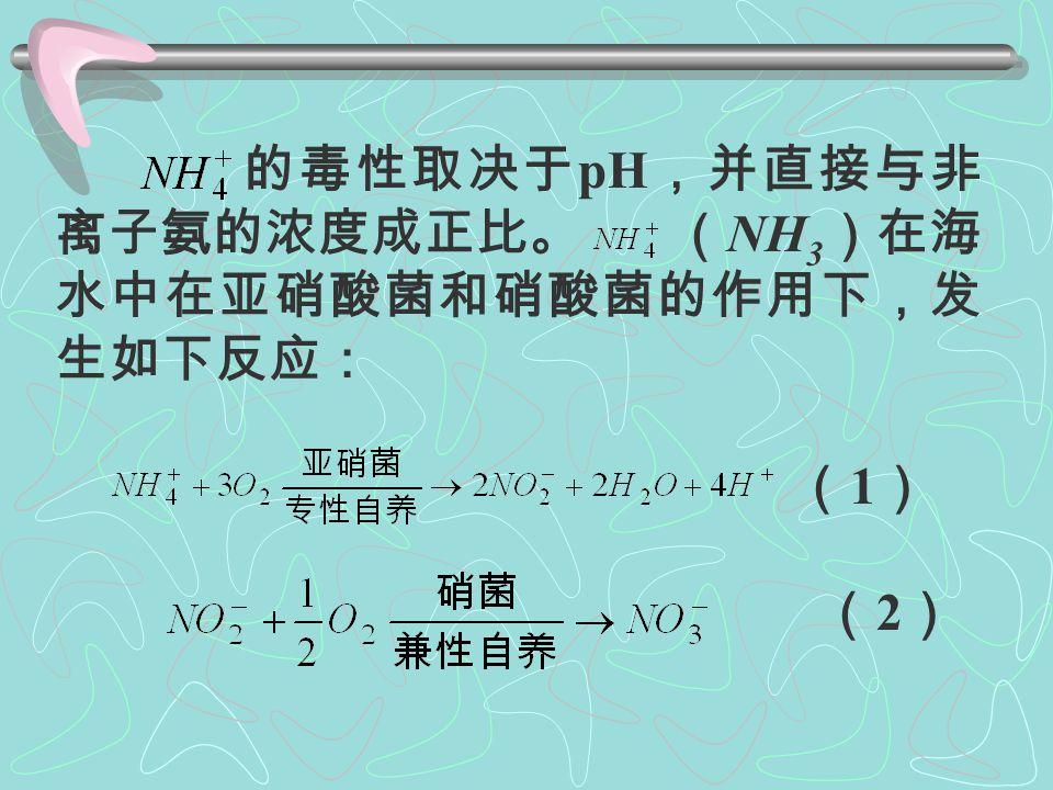 海水中无机氮主要以 形式存在, 还有少许未电离的 NH 3 。 NH 3 是水生动物的代谢产物,尤其是 浮游动物排泄物中含量很高。 NH 3 含量过 高,对鱼贝类生长有抑制作用,严重时可 引起鱼类和无脊椎动物中毒死亡。这是因 为非离子氨不带电荷,脂溶性较高,易透 过细胞膜。