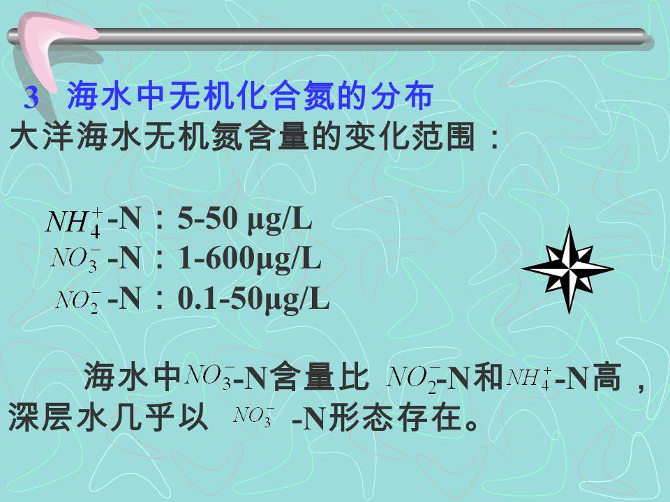 -N 是海水中 -N 还原的中 间产物,氨氧化的中间产物和浮游植 物新陈代谢的产物。 -N 是含氮化合物的最终氧化 产物。海水中的硝酸盐主要以离子的 形式存在,不被键合,也不被络合。