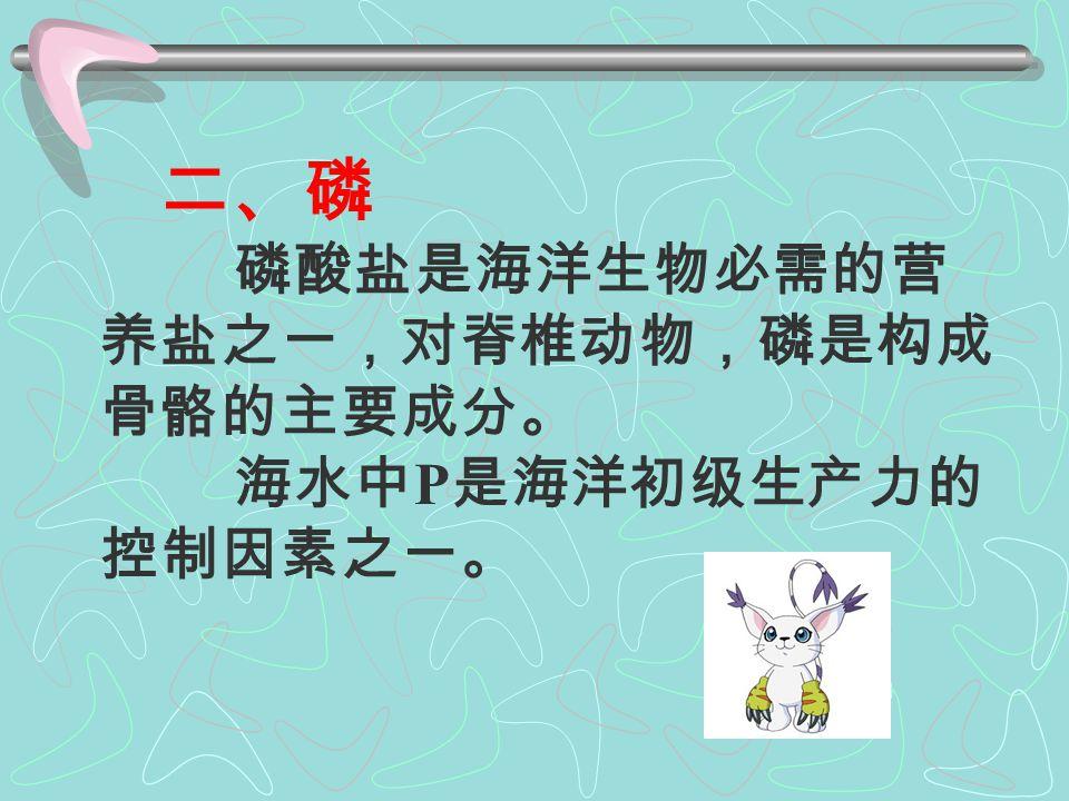 海水中 -N 通常< 0.1μmol/L 。 ① 水平分布:因海区而异; ②垂直分布:由有氧环境向缺氧环境转变的 过渡带区,> 2μmol/L ; 浅水区:海底附近有 -N 存在; 深水区:少有 -N ; 上升流区: -N 含量高,说明初级生产力 活性高; ③ 季节变化:与 -N 不同,浮游植物大量