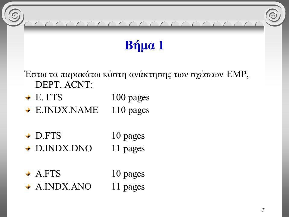 7 Βήμα 1 Έστω τα παρακάτω κόστη ανάκτησης των σχέσεων EMP, DEPT, ACNT: E.