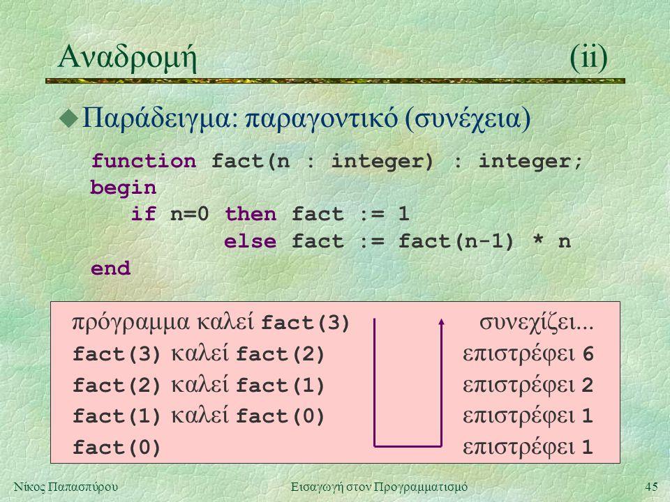 45Νίκος Παπασπύρου Εισαγωγή στον Προγραμματισμό Αναδρομή(ii) u Παράδειγμα: παραγοντικό (συνέχεια) function fact(n : integer) : integer; begin if n=0 then fact := 1 else fact := fact(n-1) * n end πρόγραμμα καλεί fact(3) συνεχίζει...