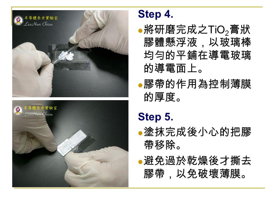 Step 4. 將研磨完成之 TiO 2 膏狀 膠體懸浮液,以玻璃棒 均勻的平鋪在導電玻璃 的導電面上。 膠帶的作用為控制薄膜 的厚度。 Step 5. 塗抹完成後小心的把膠 帶移除。 避免過於乾燥後才撕去 膠帶,以免破壞薄膜。