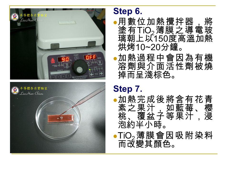 Step 6. 用數位加熱攪拌器,將 塗有 TiO 2 薄膜之導電玻 璃朝上以 150 度高溫加熱 烘烤 10~20 分鐘。 加熱過程中會因為有機 溶劑與介面活性劑被燒 掉而呈淺棕色。 Step 7. 加熱完成後將含有花青 素之果汁,如藍莓、櫻 桃、覆盆子等果汁,浸 泡約半小時。 TiO 2 薄膜會
