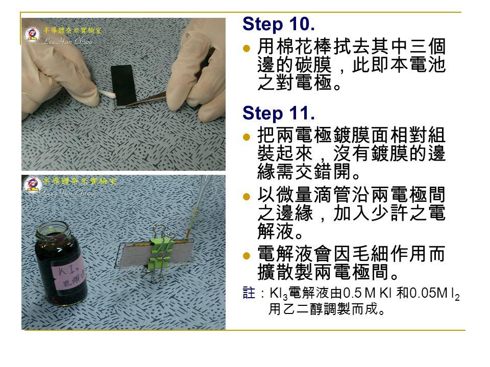 Step 10. 用棉花棒拭去其中三個 邊的碳膜,此即本電池 之對電極。 Step 11. 把兩電極鍍膜面相對組 裝起來,沒有鍍膜的邊 緣需交錯開。 以微量滴管沿兩電極間 之邊緣,加入少許之電 解液。 電解液會因毛細作用而 擴散製兩電極間。 註: KI 3 電解液由 0.5 M KI 和 0.05M