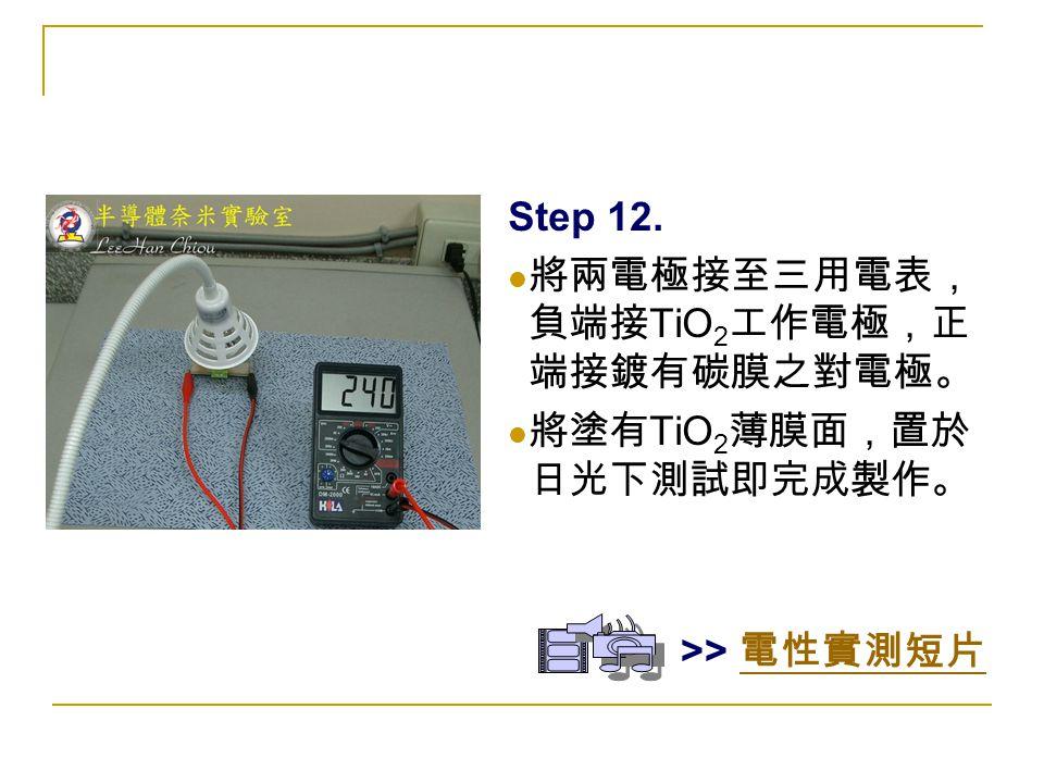 Step 12. 將兩電極接至三用電表, 負端接 TiO 2 工作電極,正 端接鍍有碳膜之對電極。 將塗有 TiO 2 薄膜面,置於 日光下測試即完成製作。 >> 電性實測短片 電性實測短片