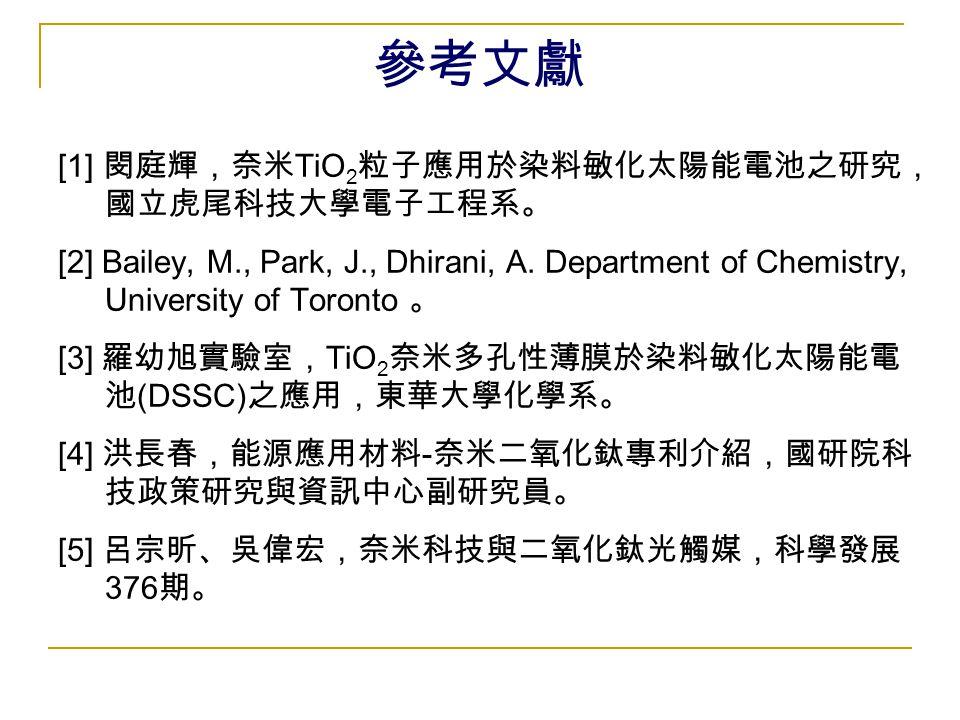 參考文獻 [1] 閔庭輝,奈米 TiO 2 粒子應用於染料敏化太陽能電池之研究, 國立虎尾科技大學電子工程系。 [2] Bailey, M., Park, J., Dhirani, A. Department of Chemistry, University of Toronto 。 [3] 羅幼旭