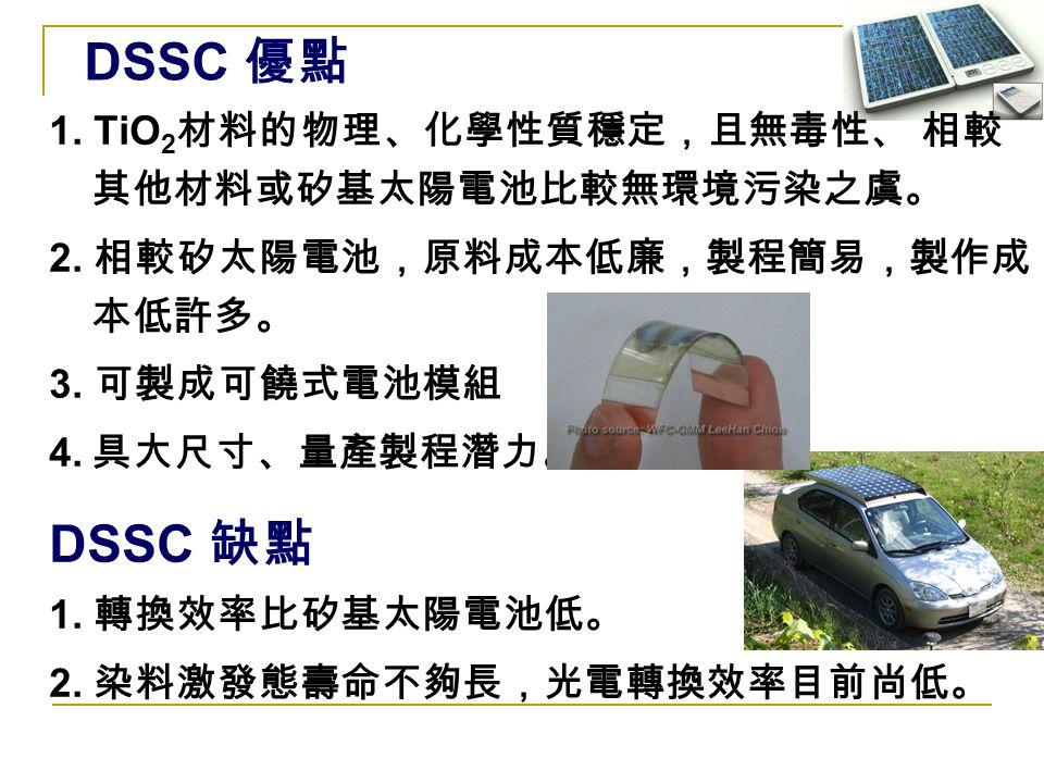 1. TiO 2 材料的物理、化學性質穩定,且無毒性、 相較 其他材料或矽基太陽電池比較無環境污染之虞。 2. 相較矽太陽電池,原料成本低廉,製程簡易,製作成 本低許多。 3. 可製成可饒式電池模組 4. 具大尺寸、量產製程潛力。 DSSC 缺點 1. 轉換效率比矽基太陽電池低。 2. 染料激發態壽