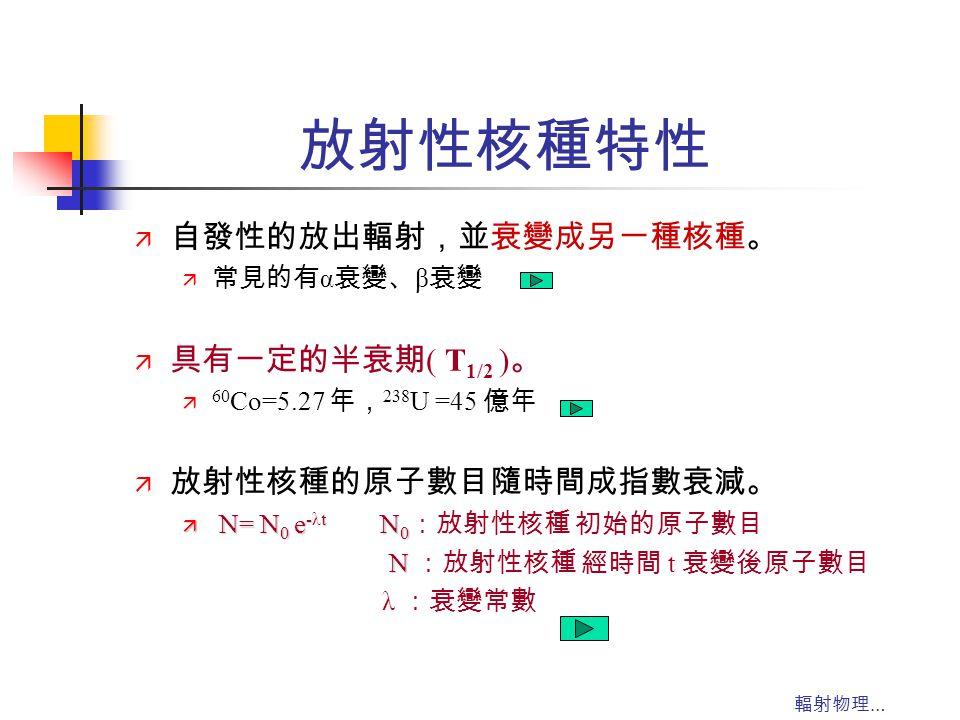輻射物理 … 放射性核種特性 ä 自發性的放出輻射,並衰變成另一種核種。 ä 常見的有 α 衰變、 β 衰變 ä 具有一定的半衰期 ( T 1/2 ) 。 ä 60 Co=5.27 年, 238 U =45 億年 ä 放射性核種的原子數目隨時間成指數衰減。 ä N= N 0 e -t N 0 ä N