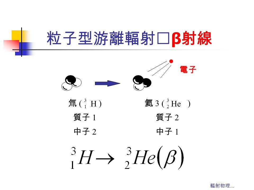 輻射物理 … 粒子型游離輻射‥ β 射線 電子 氦 3 ( ) 質子 2 中子 1 3 2 He 氚 ( ) 質子 1 中子 2 3 1 H