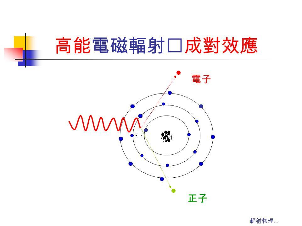 輻射物理 … 高能電磁輻射‥成對效應 電子 正子