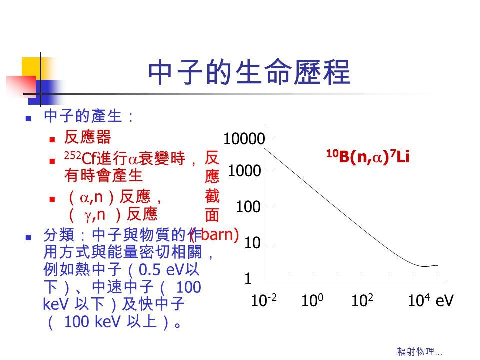 輻射物理 … 中子的生命歷程 中子的產生: 反應器 252 Cf 進行  衰變時, 有時會產生 ( ,n )反應, ( ,n )反應 分類:中子與物質的作 用方式與能量密切相關, 例如熱中子( 0.5 eV 以 下)、中速中子( 100 keV 以下)及快中子 ( 100 keV 以上)。 1