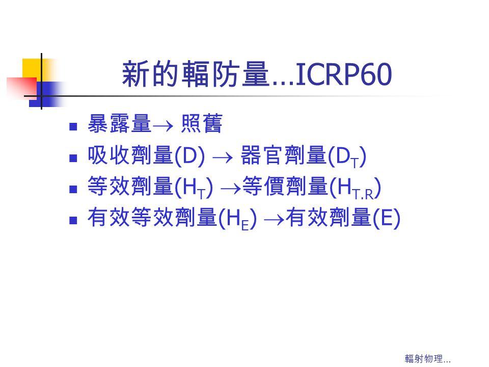 輻射物理 … 新的輻防量 …ICRP60 暴露量  照舊 吸收劑量 (D)  器官劑量 (D T ) 等效劑量 (H T )  等價劑量 (H T.R ) 有效等效劑量 (H E )  有效劑量 (E)