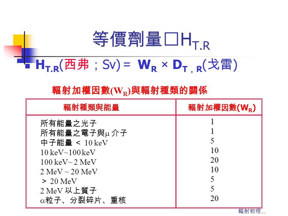 輻射物理 … 等價劑量‥ H T.R 輻射種類與能量輻射加權因數 (W R ) 所有能量之光子 所有能量之電子與  介子 中子能量 < 10 keV 10 keV~100 keV 100 keV~ 2 MeV 2 MeV ~ 20 MeV > 20 MeV 2 MeV 以上質子  粒子、分裂碎片