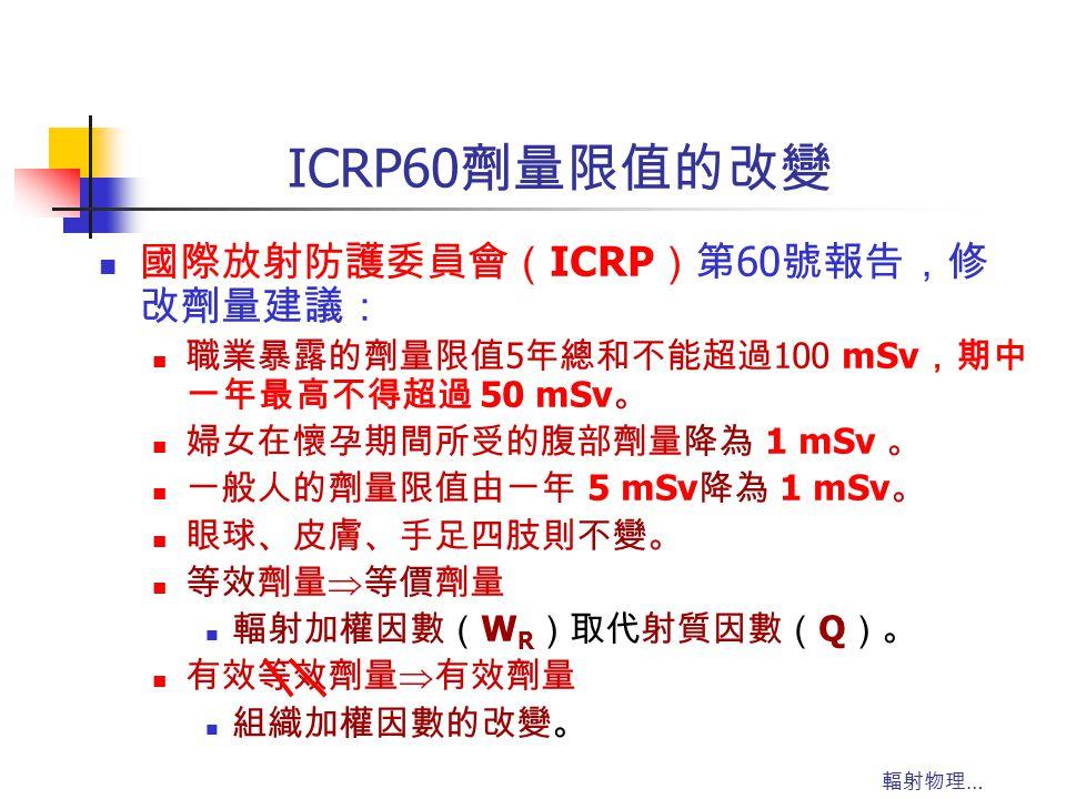 輻射物理 … ICRP60 劑量限值的改變 國際放射防護委員會( ICRP )第 60 號報告,修 改劑量建議: 職業暴露的劑量限值 5 年總和不能超過 100 mSv ,期中 一年最高不得超過 50 mSv 。 婦女在懷孕期間所受的腹部劑量降為 1 mSv 。 一般人的劑量限值由一年 5 mSv