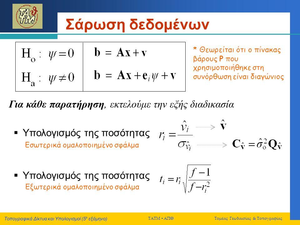 Τοπογραφικά Δίκτυα και Υπολογισμοί (5 ο εξάμηνο) ΤΑΤΜ  ΑΠΘ Τομέας Γεωδαισίας & Τοπογραφίας Σάρωση δεδομένων  Υπολογισμός της ποσότητας Για κάθε παρατήρηση, εκτελούμε την εξής διαδικασία * Θεωρείται ότι ο πίνακας βάρους P που χρησιμοποιήθηκε στη συνόρθωση είναι διαγώνιος  Υπολογισμός της ποσότητας Εσωτερικά ομαλοποιημένο σφάλμα Εξωτερικά ομαλοποιημένο σφάλμα