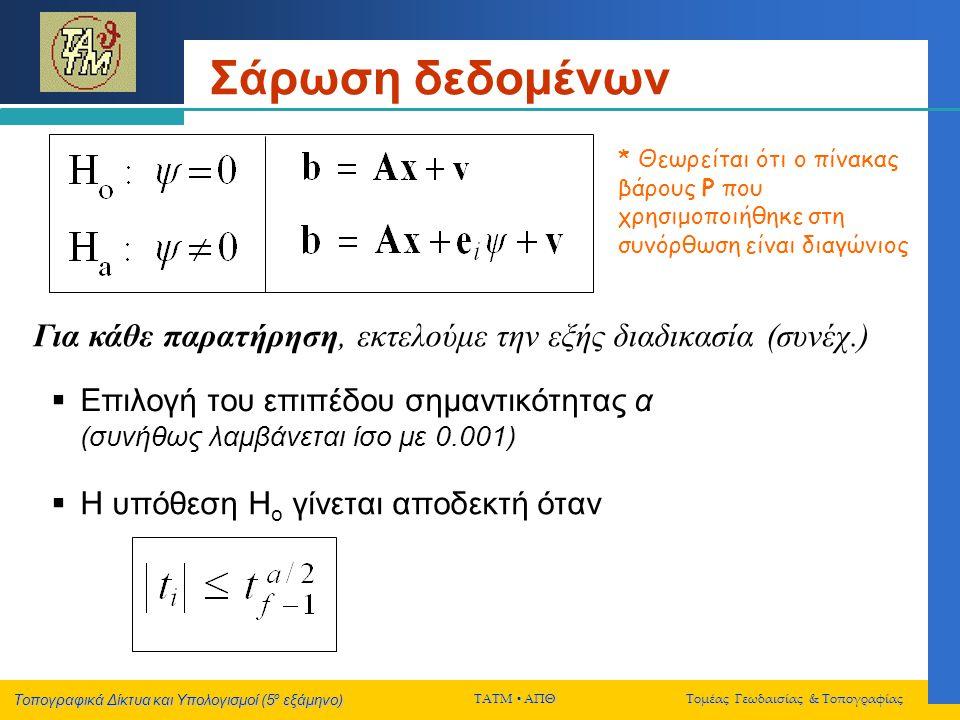 Τοπογραφικά Δίκτυα και Υπολογισμοί (5 ο εξάμηνο) ΤΑΤΜ  ΑΠΘ Τομέας Γεωδαισίας & Τοπογραφίας Σάρωση δεδομένων Για κάθε παρατήρηση, εκτελούμε την εξής διαδικασία (συνέχ.) * Θεωρείται ότι ο πίνακας βάρους P που χρησιμοποιήθηκε στη συνόρθωση είναι διαγώνιος  Επιλογή του επιπέδου σημαντικότητας α (συνήθως λαμβάνεται ίσο με 0.001)  Η υπόθεση Η ο γίνεται αποδεκτή όταν