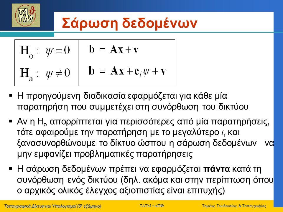 Τοπογραφικά Δίκτυα και Υπολογισμοί (5 ο εξάμηνο) ΤΑΤΜ  ΑΠΘ Τομέας Γεωδαισίας & Τοπογραφίας Σάρωση δεδομένων  Η προηγούμενη διαδικασία εφαρμόζεται για κάθε μία παρατηρήση που συμμετέχει στη συνόρθωση του δικτύου  Αν η Η ο απορρίπτεται για περισσότερες από μία παρατηρήσεις, τότε αφαιρούμε την παρατήρηση με το μεγαλύτερο t i και ξανασυνορθώνουμε το δίκτυο ώσπου η σάρωση δεδομένων να μην εμφανίζει προβληματικές παρατήρησεις  Η σάρωση δεδομένων πρέπει να εφαρμόζεται πάντα κατά τη συνόρθωση ενός δικτύου (δηλ.