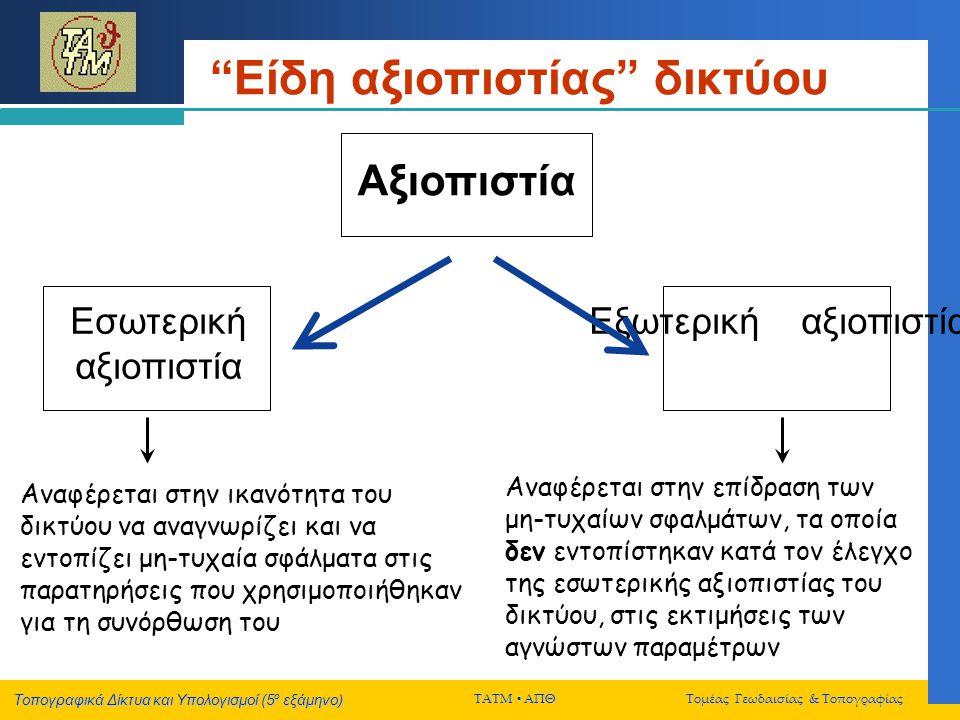 Τοπογραφικά Δίκτυα και Υπολογισμοί (5 ο εξάμηνο) ΤΑΤΜ  ΑΠΘ Τομέας Γεωδαισίας & Τοπογραφίας Είδη αξιοπιστίας δικτύου Αξιοπιστία Εσωτερική αξιοπιστία Εξωτερική αξιοπιστία Αναφέρεται στην ικανότητα του δικτύου να αναγνωρίζει και να εντοπίζει μη-τυχαία σφάλματα στις παρατηρήσεις που χρησιμοποιήθηκαν για τη συνόρθωση του Αναφέρεται στην επίδραση των μη-τυχαίων σφαλμάτων, τα οποία δεν εντοπίστηκαν κατά τον έλεγχο της εσωτερικής αξιοπιστίας του δικτύου, στις εκτιμήσεις των αγνώστων παραμέτρων
