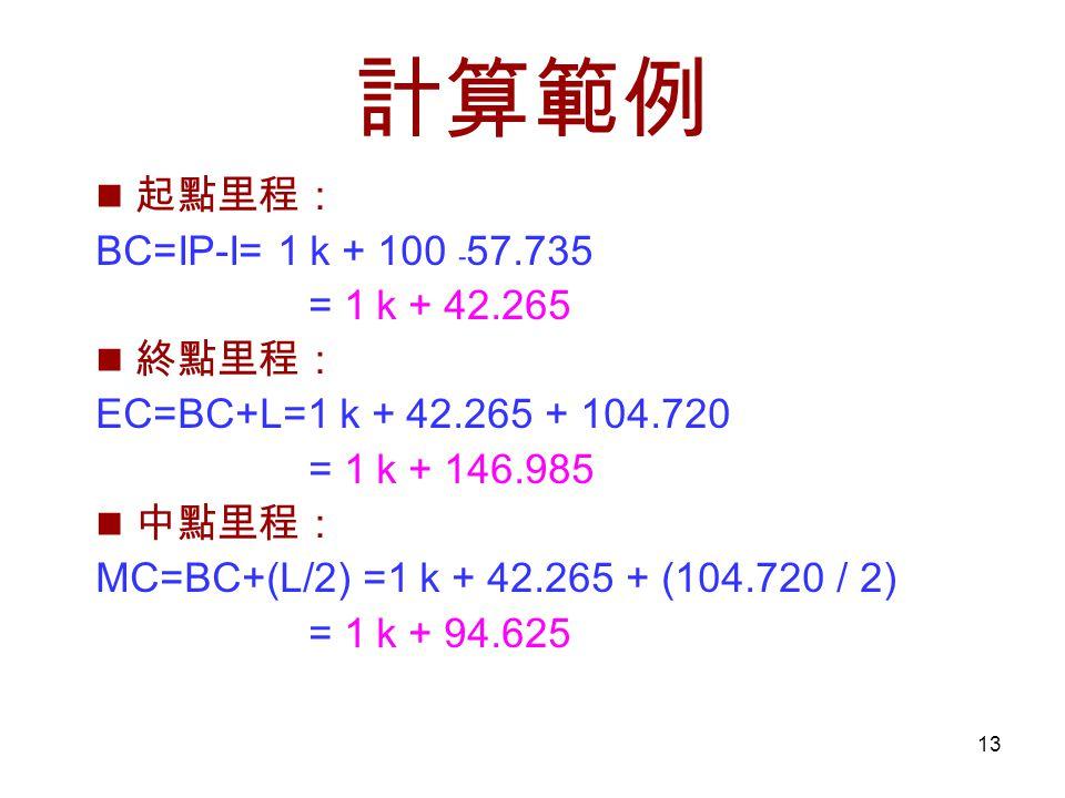 13 計算範例 起點里程: BC=IP-I= 1 k + 100 ﹣ 57.735 = 1 k + 42.265 終點里程: EC=BC+L=1 k + 42.265 + 104.720 = 1 k + 146.985 中點里程: MC=BC+(L/2) =1 k + 42.265 + (104.720 / 2) = 1 k + 94.625