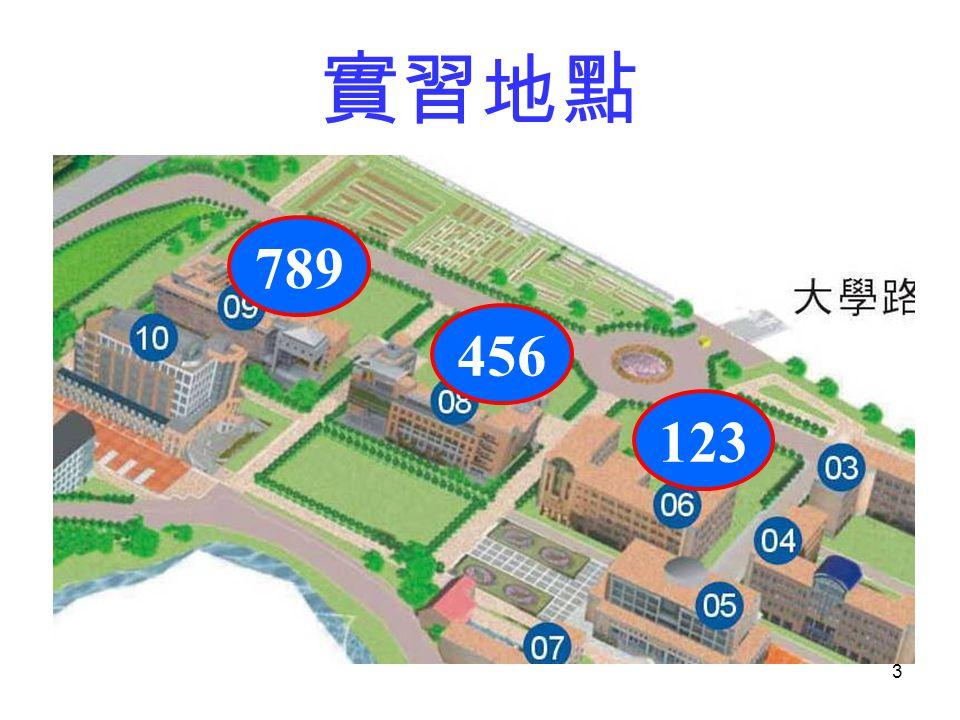 3 實習地點 123 456 789
