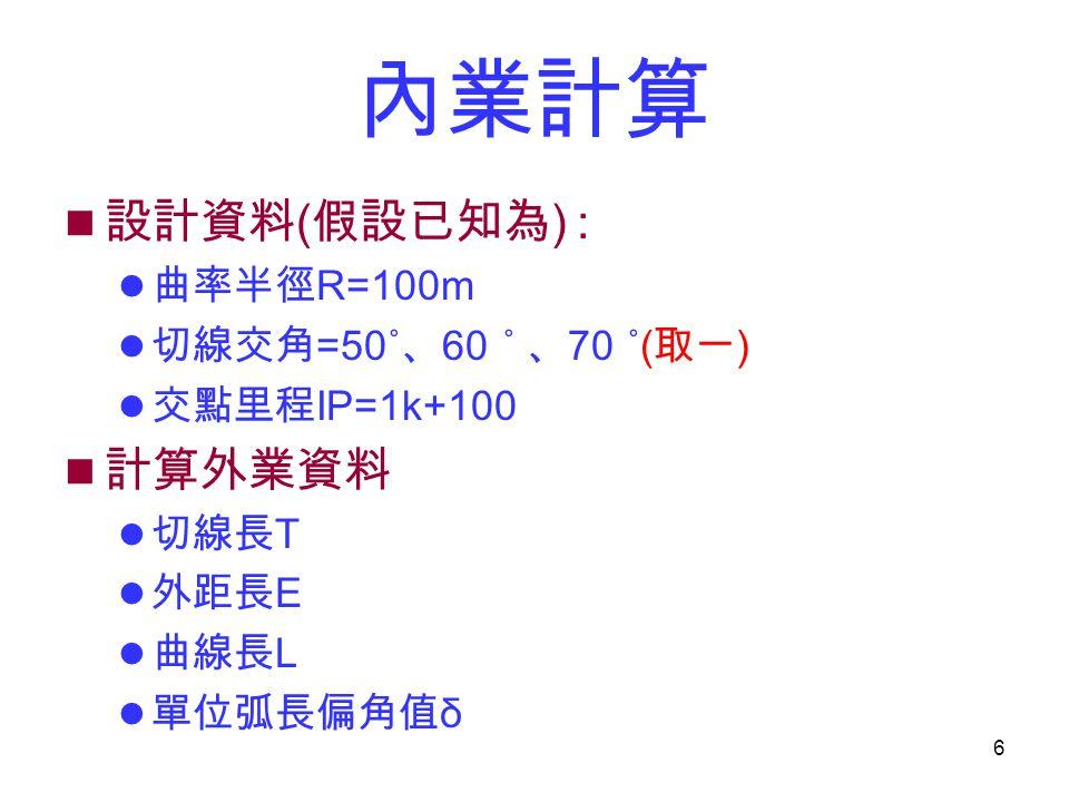 6 內業計算 設計資料 ( 假設已知為 ) : 曲率半徑 R=100m 切線交角 =50˚ 、 60 ˚ 、 70 ˚( 取一 ) 交點里程 IP=1k+100 計算外業資料 切線長 T 外距長 E 曲線長 L 單位弧長偏角值 δ