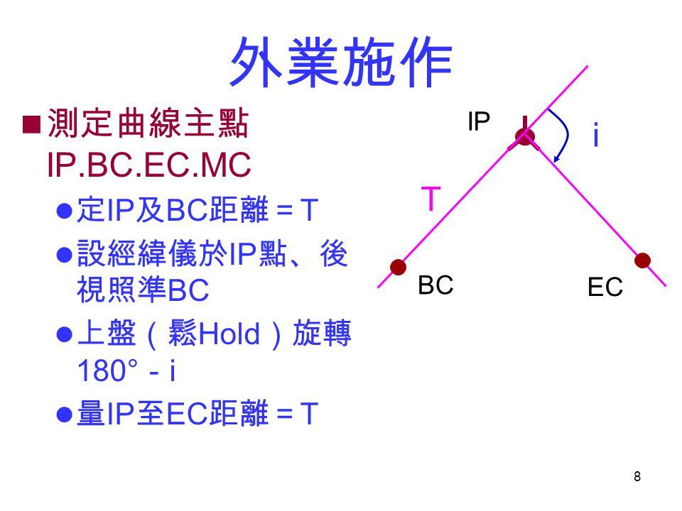 8 外業施作 測定曲線主點 IP.BC.EC.MC 定 IP 及 BC 距離= T 設經緯儀於 IP 點、後 視照準 BC 上盤(鬆 Hold )旋轉 180° - i 量 IP 至 EC 距離= T IP BC EC T i