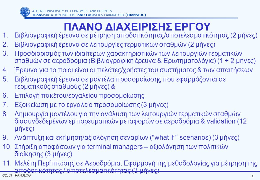 15 ©2003 TRANSLOG ATHENS UNIVERSITY OF ECONOMICS AND BUSINESS TRANSPORTATION SYSTEMS AND LOGISTICS LABORATORY (TRANSLOG) ΠΛΑΝΟ ΔΙΑΧΕΙΡΙΣΗΣ ΕΡΓΟΥ 1.Βιβλιογραφική έρευνα σε μέτρηση αποδοτικότητας/αποτελεσματικότητας (2 μήνες) 2.Βιβλιογραφική έρευνα σε λειτουργίες τερματικών σταθμών (2 μήνες) 3.Προσδιορισμός των ιδιαίτερων χαρακτηριστικών των λειτουργιών τερματικών σταθμών σε αεροδρόμια (Βιβλιογραφική έρευνα & Ερωτηματολόγια) (1 + 2 μήνες) 4.Έρευνα για το ποιοι είναι οι πελάτες/χρήστες του συστήματος & των απαιτήσεων 5.Βιβλιογραφική έρευνα σε μοντέλα προσομοίωσης που εφαρμόζονται σε τερματικούς σταθμούς (2 μήνες) & 6.Επιλογή πακέτου/εργαλείου προσομοίωσης 7.Εξοικείωση με το εργαλείο προσομοίωσης (3 μήνες) 8.Δημιουργία μοντέλου για την ανάλυση των λειτουργιών τερματικών σταθμών διασυνδεδεμένων εμπορευματικών μεταφορών σε αεροδρόμια & validation (12 μήνες) 9.Ανάπτυξη και εκτίμηση/αξιολόγηση σεναρίων ( what if scenarios) (3 μήνες) 10.Στήριξη αποφάσεων για terminal managers – αξιολόγηση των πολιτικών διοίκησης (3 μήνες) 11.Μελέτη Περίπτωσης σε Αεροδρόμια: Εφαρμογή της μεθοδολογίας για μέτρηση της αποδοτικότητας / αποτελεσματικότητας (3 μήνες)