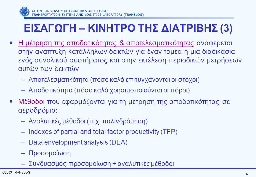 6 ©2003 TRANSLOG ATHENS UNIVERSITY OF ECONOMICS AND BUSINESS TRANSPORTATION SYSTEMS AND LOGISTICS LABORATORY (TRANSLOG)  Η μέτρηση της αποδοτικότητας & αποτελεσματικότητας αναφέρεται στην ανάπτυξη κατάλληλων δεικτών για έναν τομέα ή μια διαδικασία ενός συνολικού συστήματος και στην εκτέλεση περιοδικών μετρήσεων αυτών των δεικτών –Αποτελεσματικότητα (πόσο καλά επιτυγχάνονται οι στόχοι) –Αποδοτικότητα (πόσο καλά χρησιμοποιούνται οι πόροι)  Μέθοδοι που εφαρμόζονται για τη μέτρηση της αποδοτικότητας σε αεροδρόμια: –Αναλυτικές μέθοδοι (π.χ.