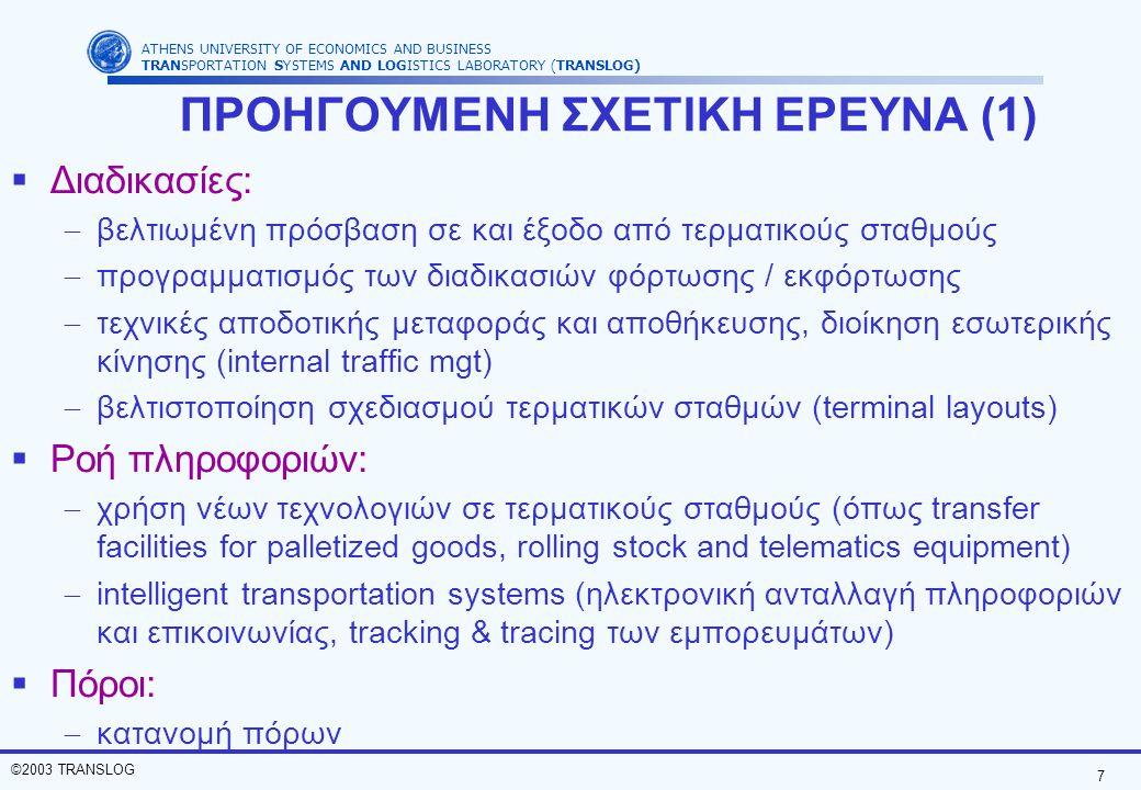 7 ©2003 TRANSLOG ATHENS UNIVERSITY OF ECONOMICS AND BUSINESS TRANSPORTATION SYSTEMS AND LOGISTICS LABORATORY (TRANSLOG) ΠΡΟΗΓΟΥΜΕΝΗ ΣΧΕΤΙΚΗ ΕΡΕΥΝΑ (1)  Διαδικασίες:  βελτιωμένη πρόσβαση σε και έξοδο από τερματικούς σταθμούς  προγραμματισμός των διαδικασιών φόρτωσης / εκφόρτωσης  τεχνικές αποδοτικής μεταφοράς και αποθήκευσης, διοίκηση εσωτερικής κίνησης (internal traffic mgt)  βελτιστοποίηση σχεδιασμού τερματικών σταθμών (terminal layouts)  Ροή πληροφοριών:  χρήση νέων τεχνολογιών σε τερματικούς σταθμούς (όπως transfer facilities for palletized goods, rolling stock and telematics equipment)  intelligent transportation systems (ηλεκτρονική ανταλλαγή πληροφοριών και επικοινωνίας, tracking & tracing των εμπορευμάτων)  Πόροι:  κατανομή πόρων